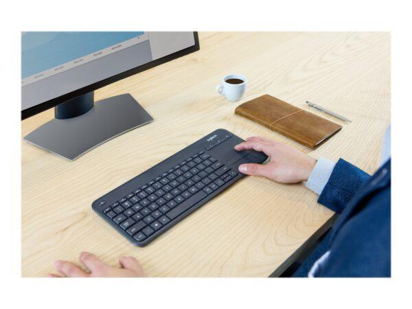 Logitech Wireless Touch Keyboard K400 Plus Tastatur Trådløs Dansk/Finsk/Norsk/Svensk EAN 5099206059382